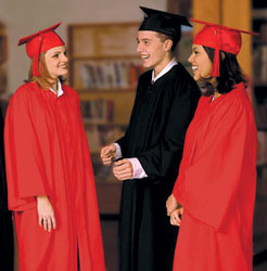 High school graduation gowns and caps and tassels.