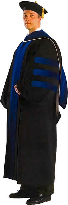Doctoral Cap And Gown And Tam And Hood For Academic Regalia