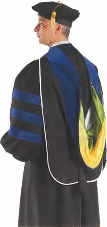 Academic regalia hoods. Doctoral & PhD hoods to wear with cap gown.