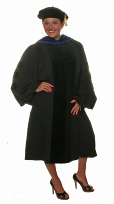 e790f78802 Left  PhD hood on deluxe doctoral gown (with black velvet). Right  PhD hood  on deluxe PhD gown (with PhD blue velvet). Doctoral Regalia Order Form